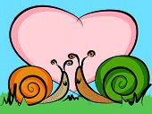 Funny cartoon snails in love with a big heart with room for your text perfect valentine's day card or other celebration event. poster