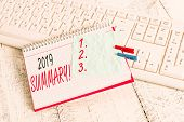 Text sign showing 2019 Summary. Conceptual photo summarizing past year events main actions or good shows notebook paper reminder clothespin pinned sheet white keyboard light wooden. poster