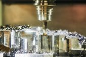 Milling machine work in metalwork industry. CNC processing detail with lubrication and coolant poster