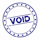 Grunge blue void word with star icon round rubber seal stamp on white background poster