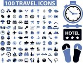 100 travel icons set,vector poster