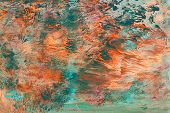 abstract textural background with red, green and coral branchy paint lines with divorces, furrows, inflows, coasts poster