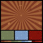 Retro Starbust Backgrounds. Including four color versions. Vector file. poster