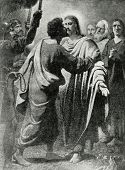 """Kiss of Judas. Mosaic in St. Isaac's Cathedral in St. Petersburg. picture by Carl Bryullov. Published in magazine """"Niva"""", publishing house A.F. Marx, St. Petersburg, Russia, 1899 poster"""