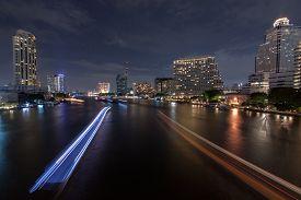 Chaopraya River View From Taksin Bridge, Bangkok, Thailand