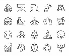 Business People Line Icons. Team, Meeting, Job Structure. Group People, Communication, Member Icons.
