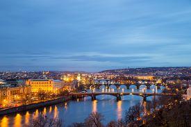Prague, Czech Republic - March 19, 2017: Night View Of The Historic Centre And Bridges Over The Vlta