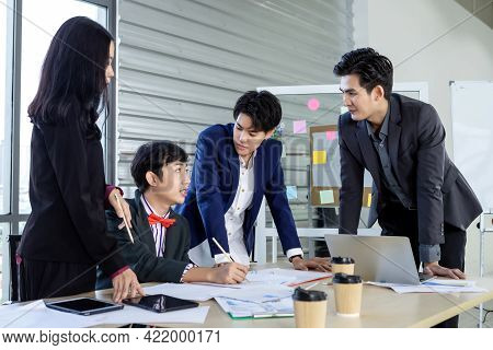 Successful Happy Workers Group Of Asian Business People With Diverse Genders (lgbt) Workers With In
