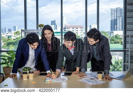 Successful Happy Workers Group Of Asian Business Partners With Diverse Genders (lgbt) See And Pointi