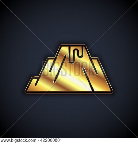 Gold Volcano Eruption With Lava Icon Isolated On Black Background. Vector
