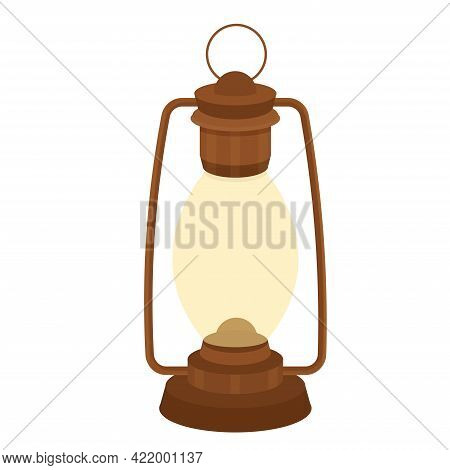 Old Kerosene, Oil Lamp, Vintage Handle Object In Cartoon Style Isolated On White Background. Camping