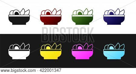 Set Nachos In Plate Icon Isolated On Black And White Background. Tortilla Chips Or Nachos Tortillas.