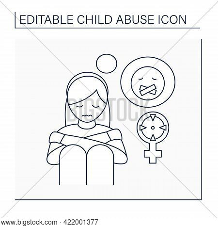 Sexual Abuse Line Icon. Rape. Aggressive Actions Against Young Girl. Depression. Child Abuse Concept