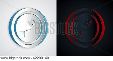 Paper Cut Served Fish On A Plate Icon Isolated On Grey And Black Background. Paper Art Style. Vector