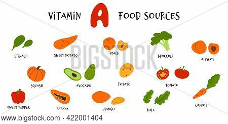 Collection Of Hand Draw Fruit And Veggies Rich In Vitamin A. Vector Cartoon Flat Style