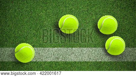 Composition of four tennis balls on grass tennis court with copy space. sport and competition concept digitally generated image.