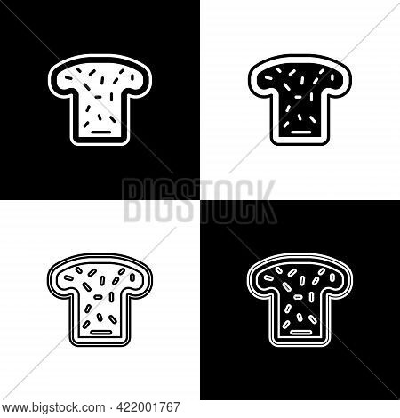 Set Bread Toast For Sandwich Piece Of Roasted Crouton Icon Isolated On Black And White Background. L