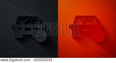 Paper Cut Car Leasing Percent Icon Isolated On Black And Red Background. Credit Percentage Symbol. P