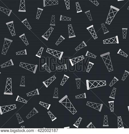 Grey Antenna Icon Isolated Seamless Pattern On Black Background. Radio Antenna Wireless. Technology