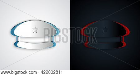 Paper Cut Military Beret Icon Isolated On Grey And Black Background. Soldiers Cap. Army Hat. War Bar