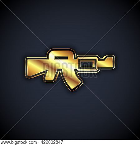 Gold M16a1 Rifle Icon Isolated On Black Background. Us Army M16 Rifle. Vector