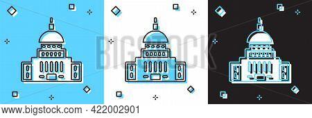 Set White House Icon Isolated On Blue And White, Black Background. Washington Dc. Vector