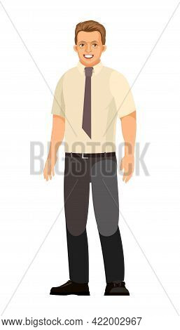 The Guy Is Standing. Young Handsome Boy. Satisfied. A Friendly Smile. In Trousers, Shirt And Tie. In