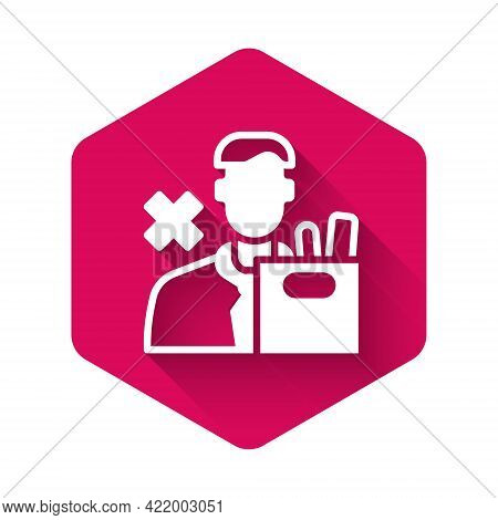 White Dismissed Sad Young Man Carrying Box With His Personal Belonging Leaving His Job Icon Isolated