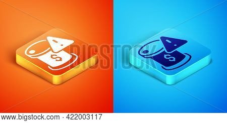 Isometric Drop In Crude Oil Price Icon Isolated On Orange And Blue Background. Oil Industry Crisis C