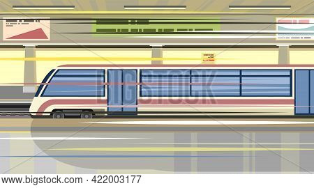 High-speed Train At The Metro Station. Suburban And Urban Underground Transport. Blue. Railway With