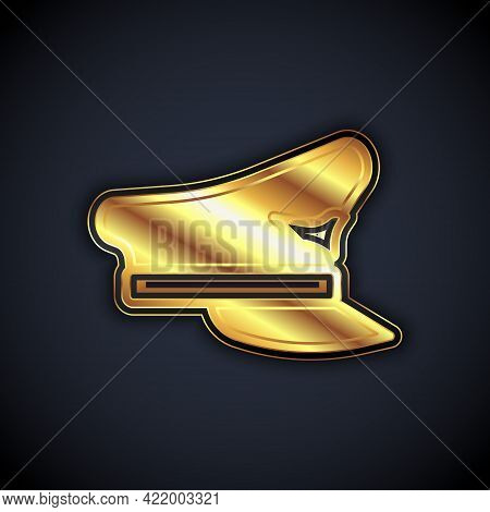 Gold Pilot Hat Icon Isolated On Black Background. Vector