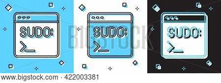 Set Code Terminal Icon Isolated On Blue And White, Black Background. Browser Window With Command Lin