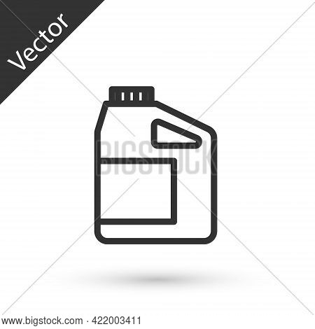 Grey Line Canister For Motor Machine Oil Icon Isolated On White Background. Oil Gallon. Oil Change S