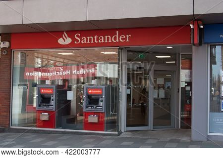 The High Street Bank, Santander In Maidenhead In The Uk, Taken 30th March 2021