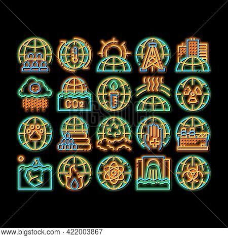 Environmental Problems Neon Light Sign Vector. Glowing Bright Icon Environmental Problem, Industrial