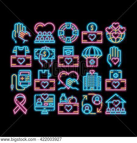 Volunteers Support Neon Light Sign Vector. Glowing Bright Icon Volunteers Support, Charitable Organi