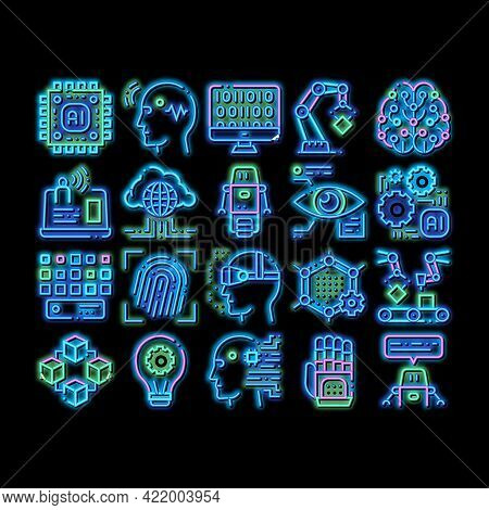 Artificial Intelligence Neon Light Sign Vector. Glowing Bright Icon Artificial Intelligence Details