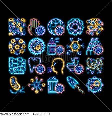 Bacteria Germs Vector Sign Icons Set. Isometric Unhealthy Tooth And Dirty Hands, Sternutation Charac
