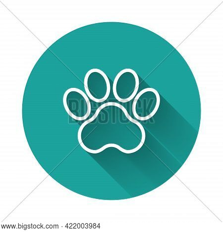 White Line Paw Print Icon Isolated With Long Shadow Background. Dog Or Cat Paw Print. Animal Track.