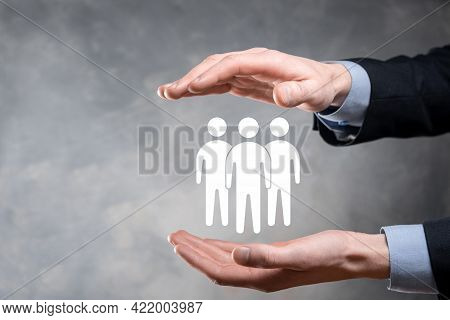 Businessman Hold Teamwork Icon. Building A Strong Team. People Icon. Human Resources And Management