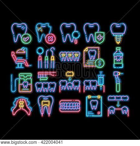 Stomatology Neon Light Sign Vector. Glowing Bright Icon Stomatology Dentist Equipment And Chair, Hea