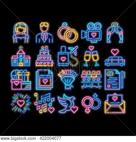Wedding Neon Light Sign Vector. Glowing Bright Icon Bride And Groom, Rings And Limousine Wedding Ele