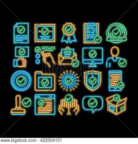 Approved Elements Neon Light Sign Vector. Glowing Bright Icon Approved Sings On Document File And Ha