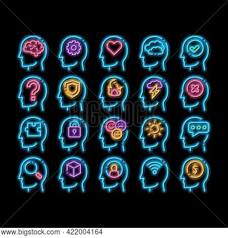 Mind Elements Signs Neon Light Sign Vector. Glowing Bright Icon Gear And Brain Mind, Heart And Shiel