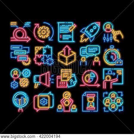 Scrum Agile Elements Neon Light Sign Vector. Glowing Bright Icon Agile Rocket And Document File, Gea