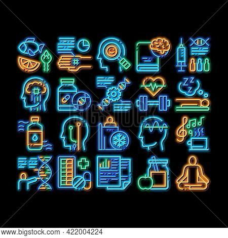 Biohacking Elements Neon Light Sign Vector. Glowing Bright Icon Meditation And Brain, Dna And Helix,