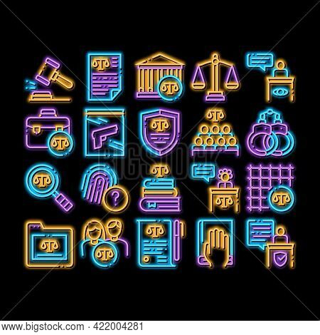 Law And Judgement Neon Light Sign Vector. Glowing Bright Icon Courthouse And Judge, Gun And Magnifie