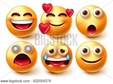 Emoji Vector Character Set. 3d Emoticons Characters Like In Love, Happy, Crying And Dizzy Facial Exp