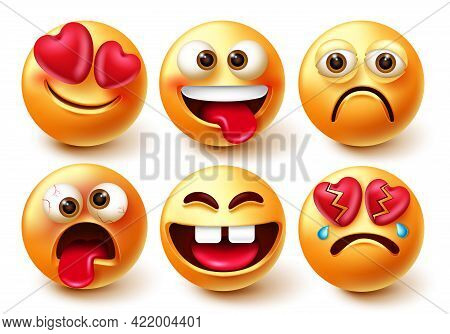 Emoticons Characters Vector Set. Emoticon 3d Emojis Isolated In White Background With Funny, Crazy,