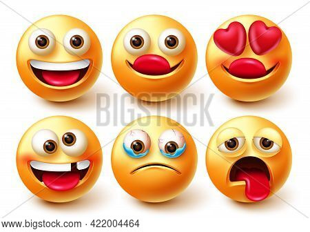 Emoticon Vector Characters Set. Emoji 3d Character Isolated In White Background With Happy, Crazy, I
